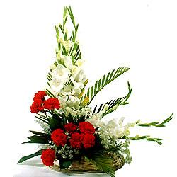 Arrangement of Red Carnation and white Glads