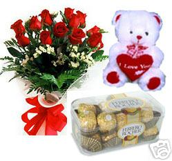 A bunch of 15 roses with 16pc Ferrero Rocher Chocolate and a cute Teddy