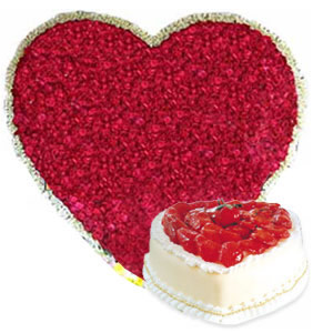 Heart Shape arrangement of 200 Roses and 1kg Cake