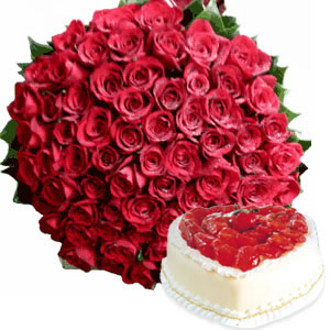 Bunch of 100 Roses and 1kg Cake