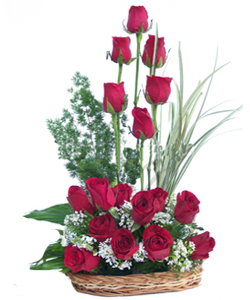 18 Red Roses arranged in a Basket flowers delivery in 18 Red Roses arranged in a Basket
