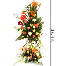 3 to 4 ft height arrangement of mix exotic flowers