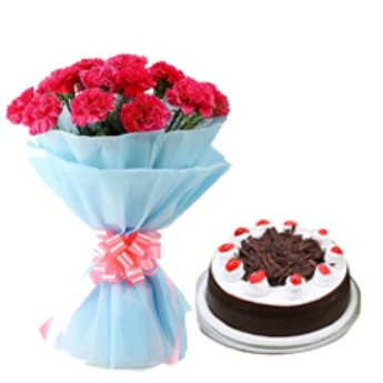 Black Forest Cake With Red Carnation Bouquet flowers delivery in Black Forest Cake With Red Carnation Bouquet