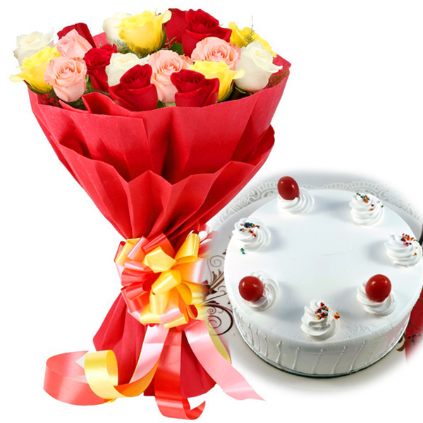 15 Mixed Colour Roses with 1/2kg Pineapple Cake flowers delivery in 15 Mixed Colour Roses with 1/2kg Pineapple Cake