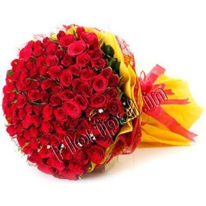 100 Red Roses Bunch in Yellow Tissue Paper flowers delivery in  100 Red Roses Bunch in Yellow Tissue Paper