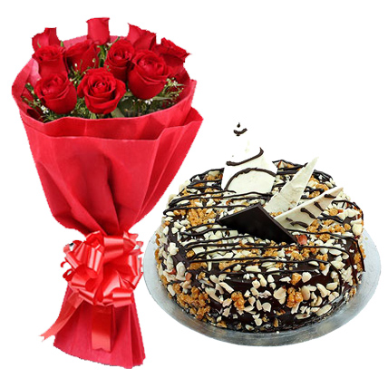 12 Red Roses in Paper Packing with 1/2 kg Nutty Delight Cake flowers delivery in 12 Red Roses in Paper Packing with 1/2 kg Nutty Delight Cake