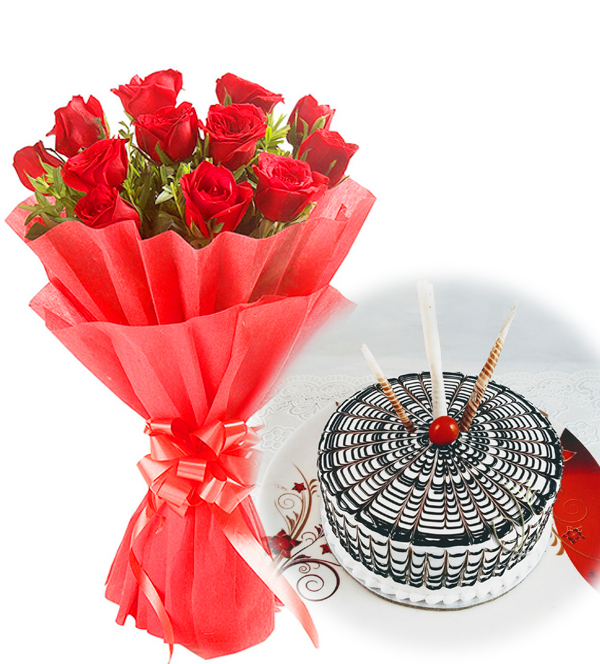 12 Red Roses with 1/2 kg Butterscotch cake flowers delivery in 12 Red Roses with 1/2 kg Butterscotch cake