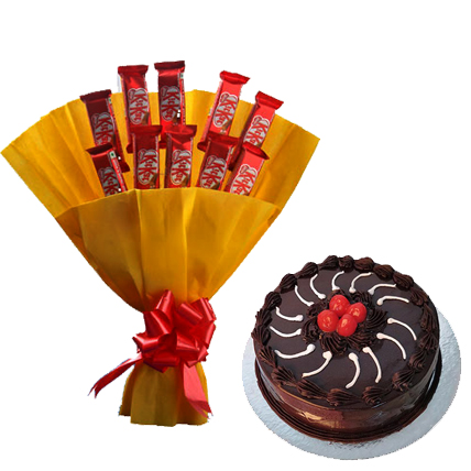 Bunch of 10 Kit Kat small with 1/2 kg truffle cake flowers delivery in Bunch of 10 Kit Kat small with 1/2 kg truffle cake