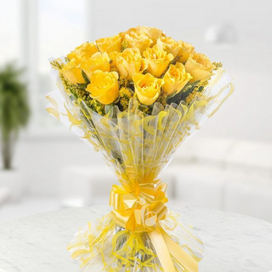 Bright and beautiful bunch of 20 yellow Roses