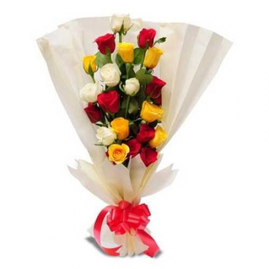 Sleek and Stylish Bunch of 20 Mix Roses  flowers delivery in Sleek and Stylish Bunch of 20 Mix Roses