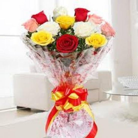 10 Fresh Roses of Mix Colour Bunch flowers delivery in 10 Fresh Roses of Mix Colour Bunch