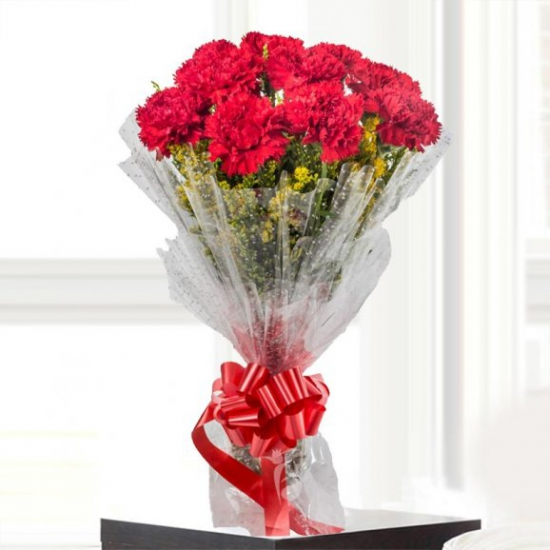 Bunch of 10 Red Color Carnation flowers delivery in Bunch of 10 Red Color Carnation