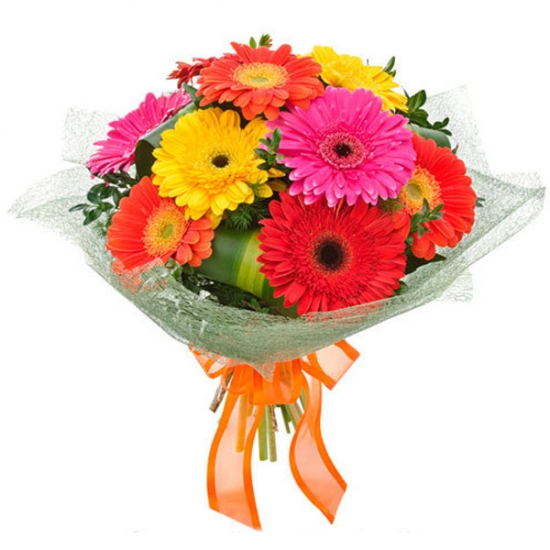 10 Mix Color Gerbera Bouquet