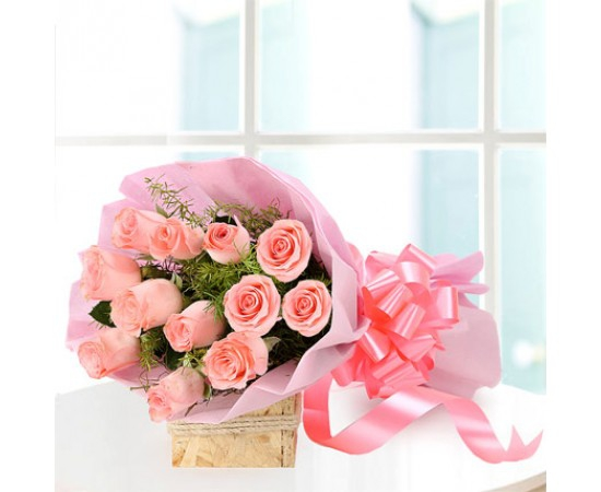 15 Pink Roses Bunch flowers delivery in 15 Pink Roses Bunch