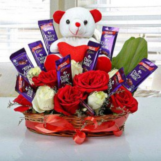 Cute Choco Flower & Teddy Arrangement flowers delivery in Cute Choco Flower & Teddy Arrangement