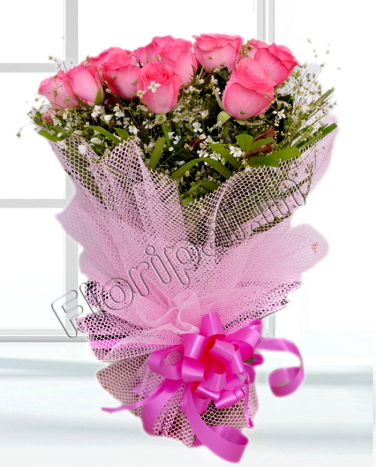 Pink Roses in Net Packing flowers delivery in Pink Roses in Net Packing