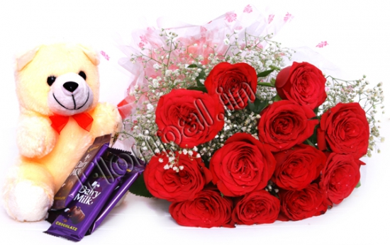Red Roses with Teddy & Chocolates flowers delivery in Red Roses with Teddy & Chocolates