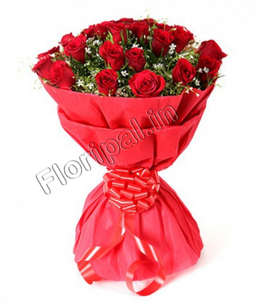 20 Red Roses Bunch in Red Paper