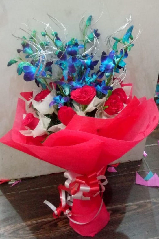 Red Roses & Blue Orchid in Paper Wrapping