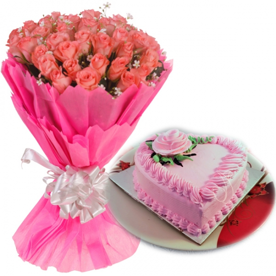 Pink Roses & HeartShape Strawberry Cake