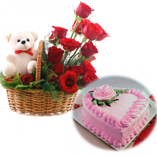 Rose Basket & Heartshape Strawberry Cake