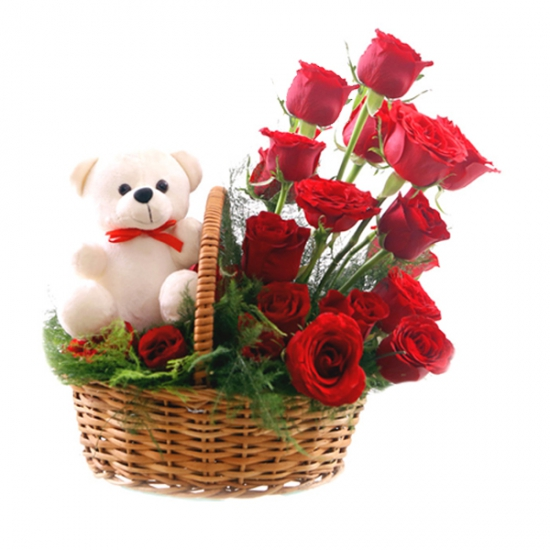 Rose Basket & Teddy