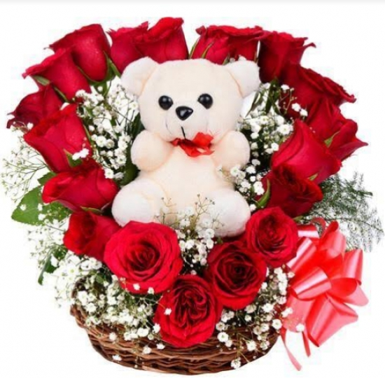 Basket of 20 Red Roses with Teddy Bear