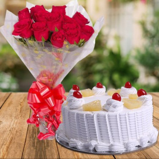 Bunch of Red Roses & Pineapple Cake