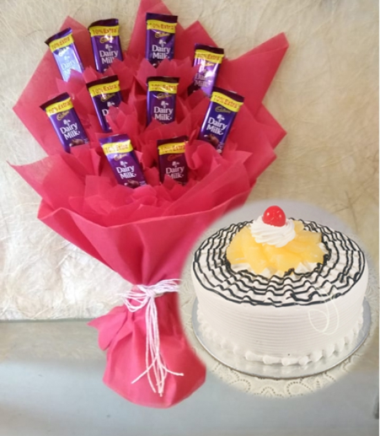 Dairy Milk Chocolate Bouquet & Pineapple Cake
