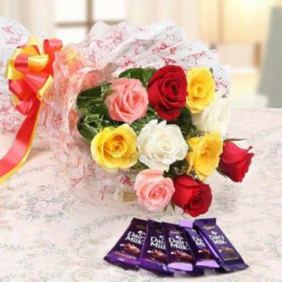 Mix Roses Bunch & Dairy Milk Chocolate