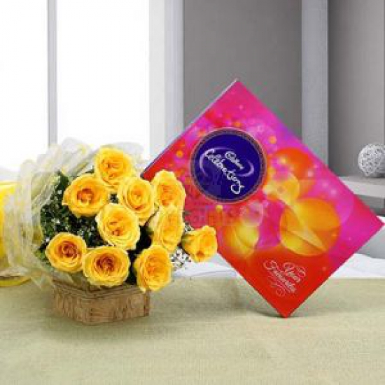 Bunch of Yellow Roses & Small Celebration Pack