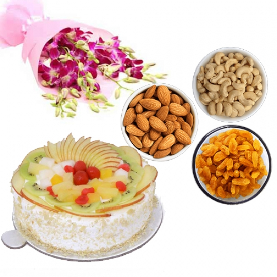 Orchids & DryFruits & Fruit Cake