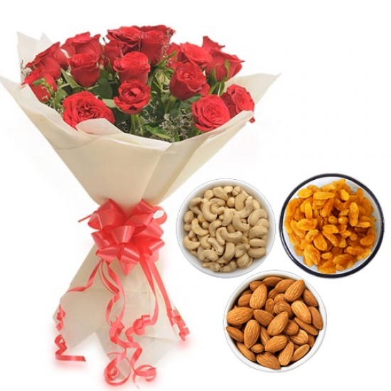 Roses Bunch & 750Gm Mix Dry Fruits