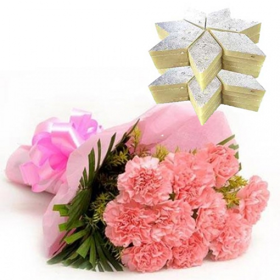 Bunch of 12 Pink Carnation & 1kg Kaju Burfi