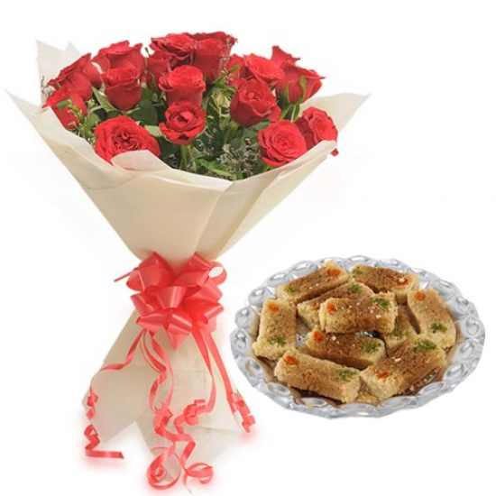 Roses Bunch & 500Gm Milk Cake Sweet
