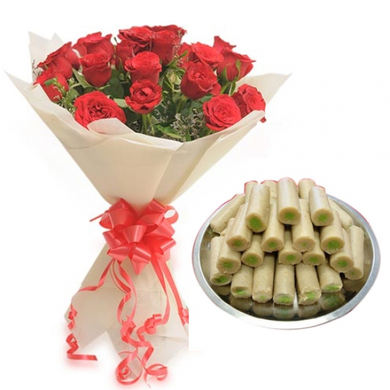 Rose Bunch & Kaju Roll Sweet