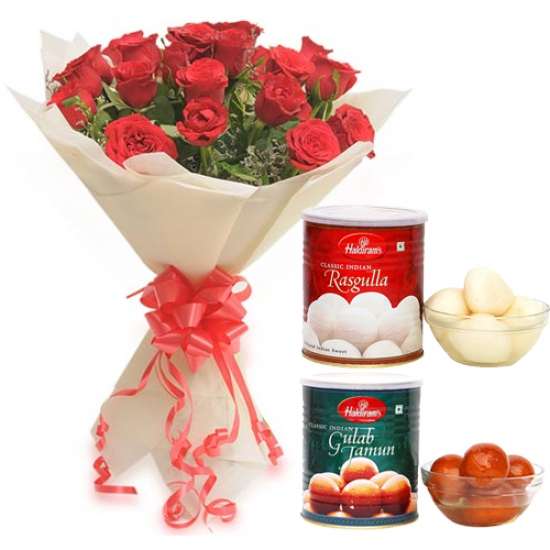 Bunch of Roses & Rasgulla & Gulab Jamun
