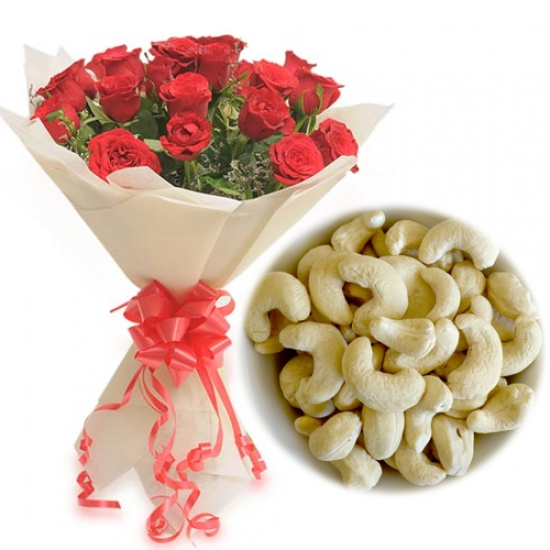 Roses Bunch & 1/2Kg Kaju Dry Fruit