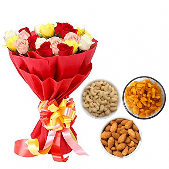 Mix Roses Bunch & 750Gm Mix Dry Fruits