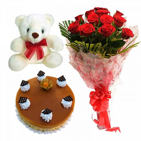 Red Rose & Cake & Teddy