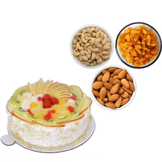 1/2KG Fresh Fruit Cake & 750Gm Mix Dry Fruits