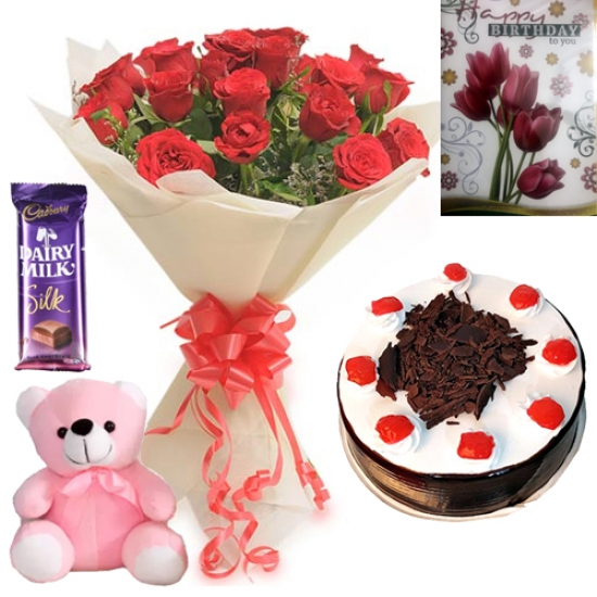Roses Teddy & Card Chocolate