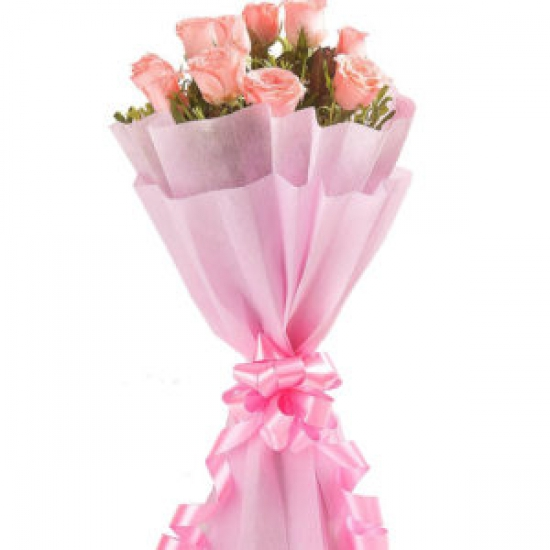 Pink Roses in Paper Packing