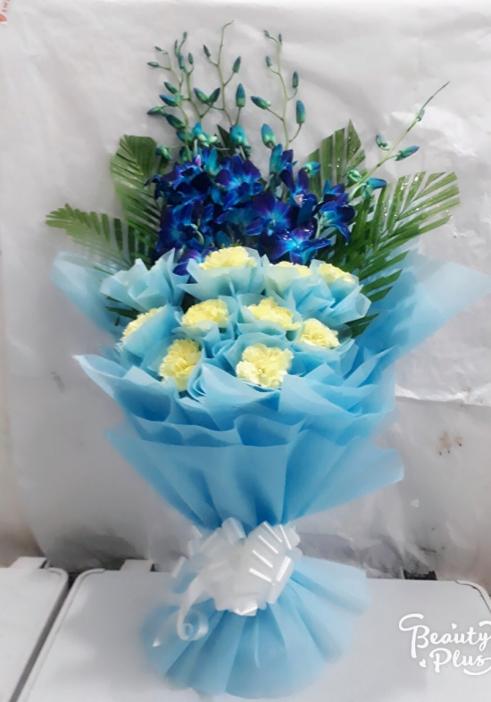 Blue Orchid & White Carnation