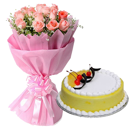10 Pink Roses in Paper with 1/2kg Pineapple Cake flowers delivery in 10 Pink Roses in Paper with 1/2kg Pineapple Cake