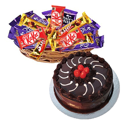 Basket of 12 Mix Chocolates with 1/2kg Truffle Cake