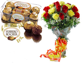 A bunch of 20 Roses with 16 pc Ferrero Rocher Chocolates. flowers delivery in A bunch of 20 Roses with 16 pc Ferrero Rocher Chocolates.