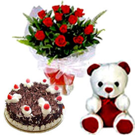 15 Roses with 1kg Cake and small teddy