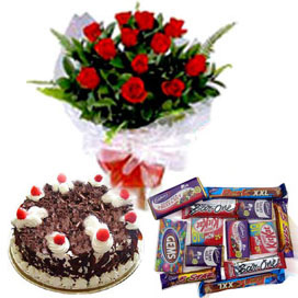 A 12 Mix Roses Bunch, 1/2 kg Black Forest Cake and 5 Dairy Milk Chocolates