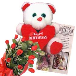 12 mix color roses with small Teddy and Birthday Card flowers delivery in 12 mix color roses with small Teddy and Birthday Card